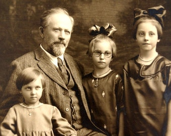 Antique Photograph of Grandfather and 3 Granddaughters (c.1900s) Otto A. Gericke  - Collectible Photograph, altered art