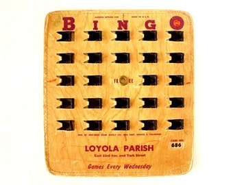 Vintage BINGO Board Card with Black Shutters, Loyola Parish, Mile-High Game Supply (1950s) - Game Room Decor, Collectible, Altered Art