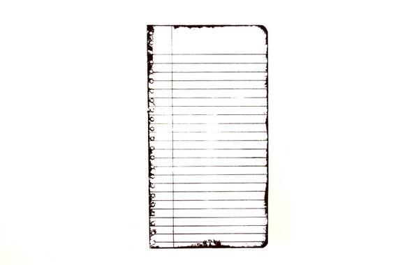 Lined Notebook Page / Journal Page Stamp Rubber Cling Mount