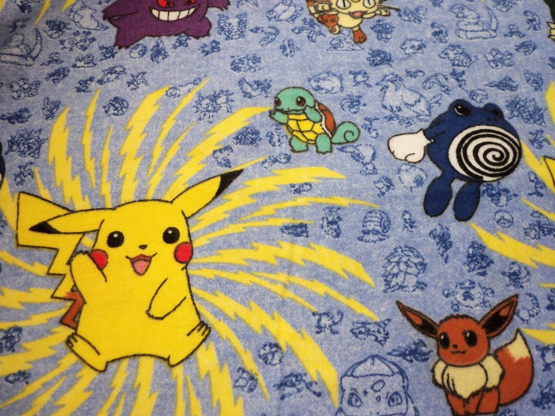Pokemon Fabric Rare Hard To Find Flannel Fat Quarter By
