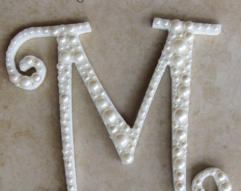 White Letter Pearl Embellished Initial Wedding Cake Topper