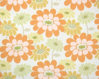 Retro Wallpaper by the Yard 60s Vintage Wallpaper - 1960s Orange and Yellow Daisy Floral on White