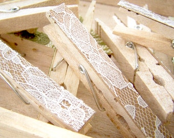 SALE -Lace Clothes Pins -Antique White Pegs -Lace Clothespins -DIY Wedding Accessory -Shabby Chic Wedding -Woodland Wedding -Country Wedding