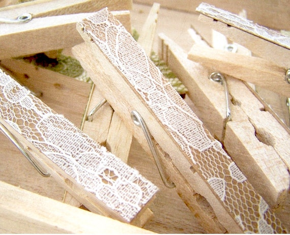 Lace Clothes Pins -Antique White Pegs -Lace Clothespins -DIY Wedding Accessory -Shabby Chic Wedding -Woodland Wedding -Country Wedding