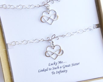 Sterling Silver Sisters Infinity Heart Bracelet Set... Gift Message Sentiment Card... Two Bracelets