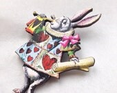 White Rabbit invitation Hearts Uniform Alice in Wonderland Wooden Brooch Unbirthday Mad Hatters Tea Party Gift for Book Fans and Women