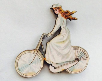 White Dress Victorian Cycling Lady Woman on Bicycle,  Wooden Brooch Pin - Gift Laser Cut