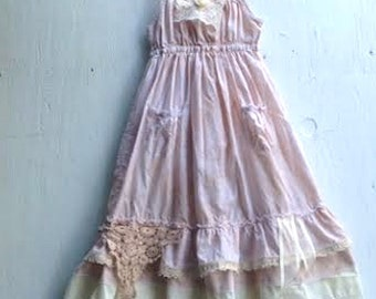 CUSTOM made to order example shabby ivory gauzey rustic boho flower girl off white princess eco gypsy ecru dress