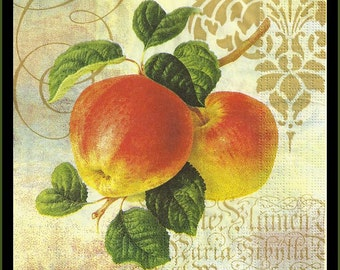 Apples pictured on decoupage tissue paper napkins, lot of four to use for crafts