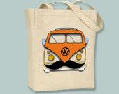 Fun Retro VW Camper Bus with Mustache,NATURAL or BLACK Canvas tote - you pick bus color