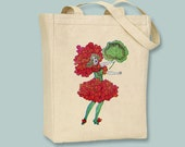 Fun Vintage Geranium Fairy illustration Canvas Tote -- Selection of sizes available