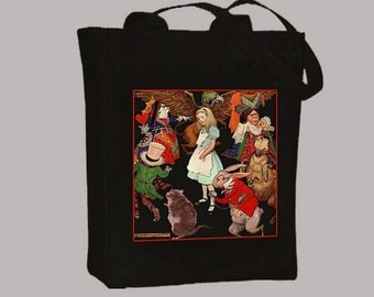 Alice in Wonderland Color Characters Illustration Natural Or Black Canvas Tote  - Selection of sizes  available