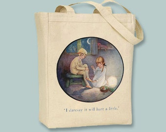 Peter Pan and Wendy Vintage Illustration  Canvas Tote  - Selection of sizes and personalization available