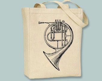Vintage French Horn Illustration Canvas Tote -- Selection of size available, image in ANY COLOR