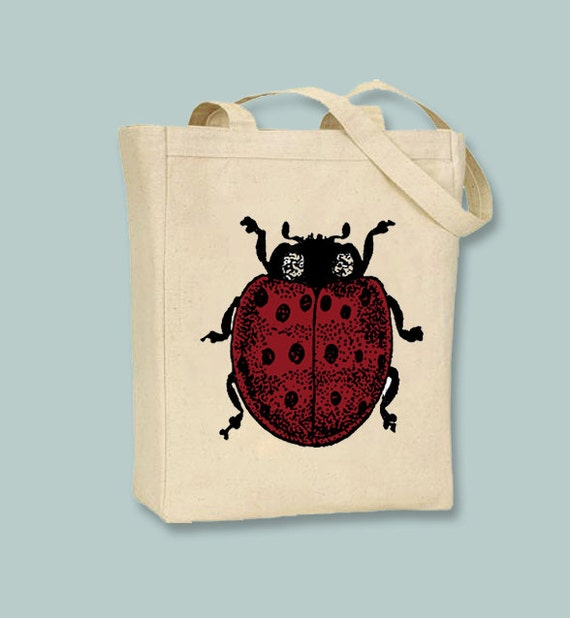 Vintage Ladybug illustration Canvas Tote -- Selection of sizes available