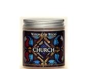 Church, 4oz Frankincense & Myrrh scented soy jar candle