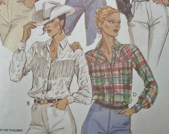 UNCUT Vintage McCall's 1980 Texas Rodeo Country Western Shirt with Fringe 6938 Sewing Pattern Size 8 Bust 31 1/2
