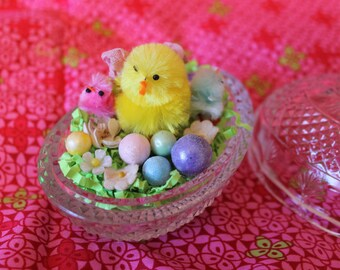 Glass Easter Egg Dish Repurposed into a Nest for Easter Chicks and Eggs