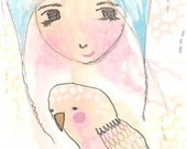 ACEO original girl and bird watercolor painting drawing