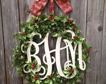 Mistletoe Christmas Monogram Wreath