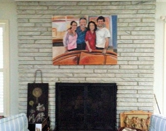 His Wonderful Family Painting of Family Colorful Portrait 30 x 40 Orginal Oil Painting by Marlene Kurland