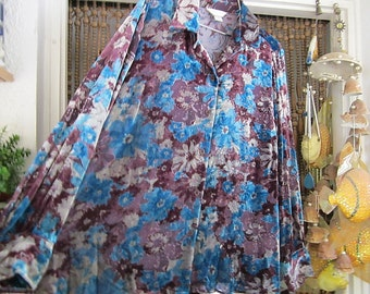 Burnout Velvet Floral Shirt Shaded Turquoise, Burgundy, Dusty Rose & Ivory - Shines in Silver with Every Sway, Vintage - Large to XLarge