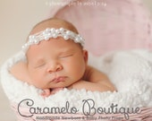 Vintage White  Mohair Newborn Halo with Pearls-Elegant Vintage Inspired Baby Girl Halo Headband-Pearl Newborn Halo-Baby Photo Prop