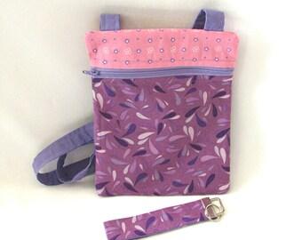 Purple Crossbody Bag, Hipster Purse, Handmade Purse, Key Fob, Purple, Pink, Travel Purse, Small Zipper Purse, Shoulder Bag