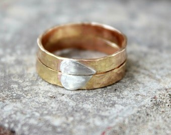 Couples Rings - Matching Wedding Bands - Puzzle Ring - SPLIT HEART RING - Best Friend Rings - Sister Rings - Lovers Rings - Gold Bands