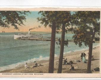 "Michigan, Vintage Postcard,  ""Steamboat Landing at Bay View, Michigan,  1920s,  #544-2."