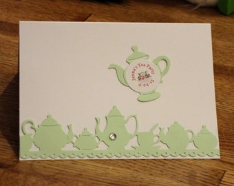 Die Cut Lace Tea Party Teapot and Tea Cup Note by teatimepapers