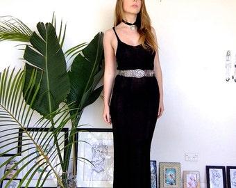 Vintage Crochet Knitted Black Maxi Floor Length Dress With T Racer Back