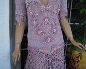 wedding dress romantic / pink fairy tale handmade knitted embroidered  with pearls and shells ready to ship size S/M/L by goldenyarn