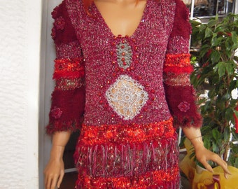 SALE wedding sparkle dress/boho  handmade knitted cherry red gypsy embroidered  size M/L ready to ship gift idea for her by goldenyarn