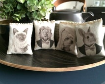 Set of 4 Lavender Bags, Scented Drawer Sachets Animals Portraits in Tuxedo and old costume - Organic Lavender Dryer Sachets