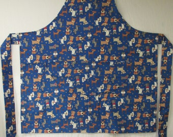 Bib Apron (Mixed Dogs on Blue Background)