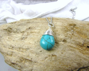 Turquoise Teardrop Pendant Jewelry  necklace gemstone pendant with or without chain