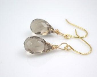 smokey grey colored glass earrings  jewelry  earrings-bridesmaid earrings- teardrop  earrings