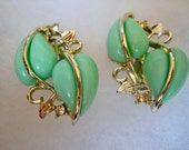 Vintage,Thermoset and Rhinestone clip earrings from the 50's
