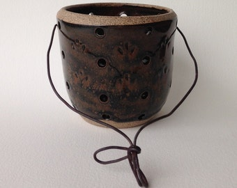 Wheel Thrown Stoneware Pottery Luminary, Patio Light, Garden Light, Tea Light, Waterfall Brown Glaze