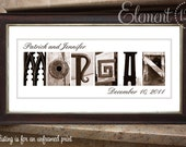Alphabet Art Sepia Name Print, Custom Anniversary and Wedding Gift - Frame on your own - 10x20
