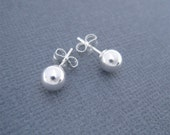 Silver Ball Earrings, Medium Size Sterling Ball Earrings, 6mm Ball Earrings