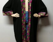 RESERVED for Teni*********Vintage 80's Catalina Black Beach coverup Kimono jacket Size Small - X- Large