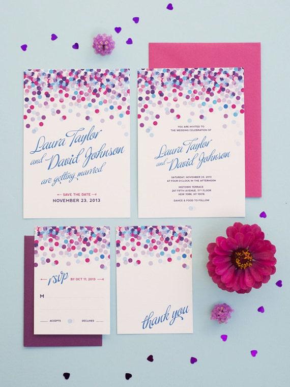 Fun Confetti Wedding Invitation Printable Set of 4