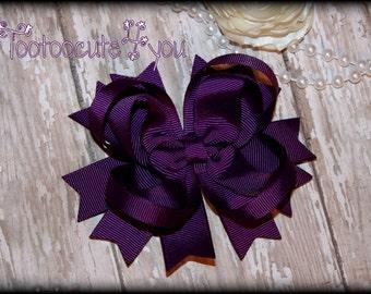 Dark Purple Hair Bow, Purple Hairbow, Purple Boutique Hair Bow, Purple Bow, Purple Hair Clip, Easter Hair Bow, Easter Hair Clip