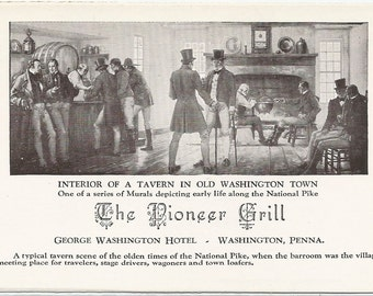 Interior of a Tavern in Old Washington Town Malcom Parcell Mural Depicting Travel The National Pike Vintage Postcard George Washington Hotel