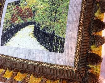 Luxurious Fine Art - Thread Painted - Embroidered - pillow - Autumn Park - Luxe - tassel trim - cut fringe