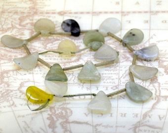 "12"" 17beads 16mmx14mm Leaf  Jade  Bead Gemstone stone  Full One Strand"