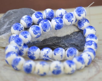 Loose Gemstone Round White Porcelain Blue Flower 12mm gemstone  bead full one strand 15""