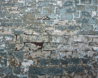 Brick in dusty teal and beige, 1/2 yard, pure cotton fabric